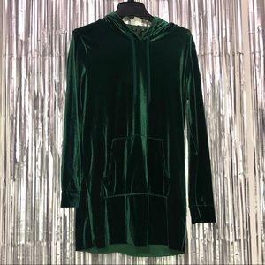 🦚Velvet green hoodie long sleeve dress 🦚